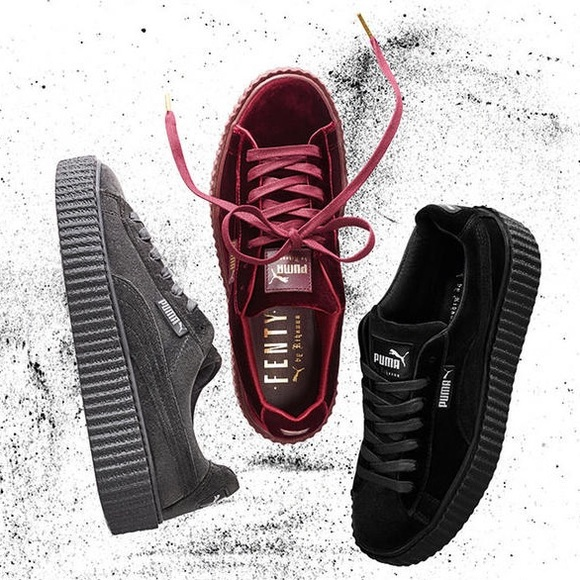 Puma Shoes - NIB Fenty Puma Burgundy Velvet Creeper Sneakers